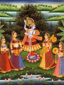 krishna with gpois dancing